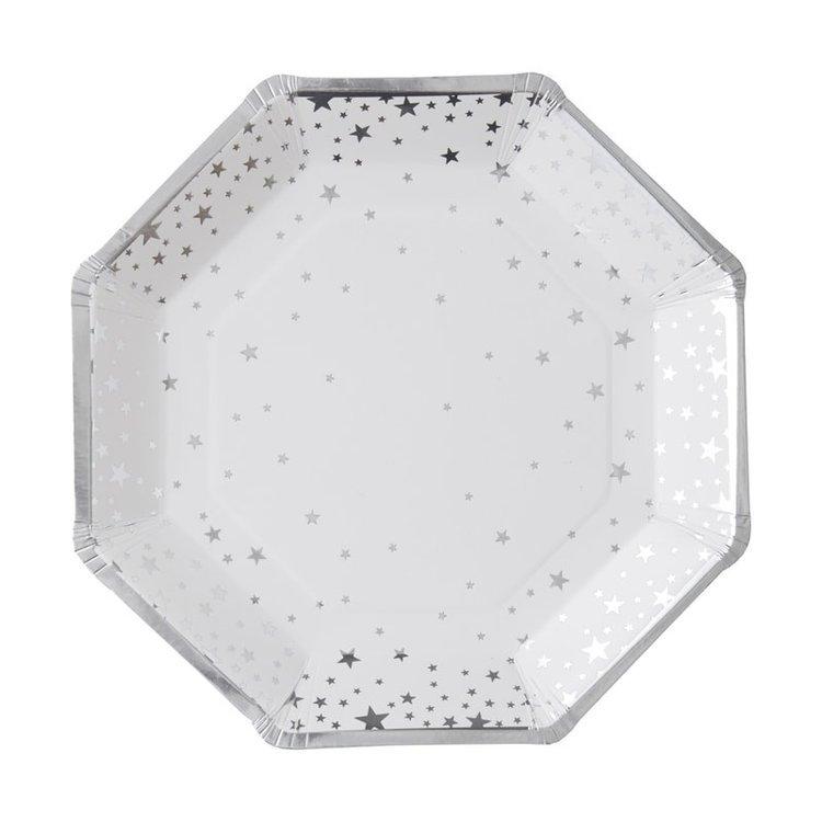 8 Assiettes blanche étoiles argentées