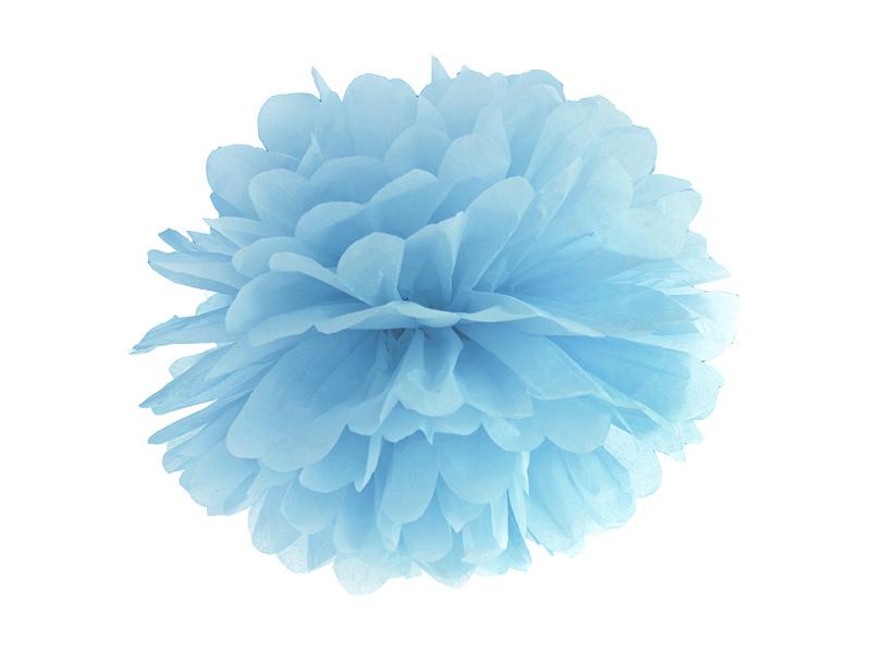 Pompon Papier Bleu 25 cm