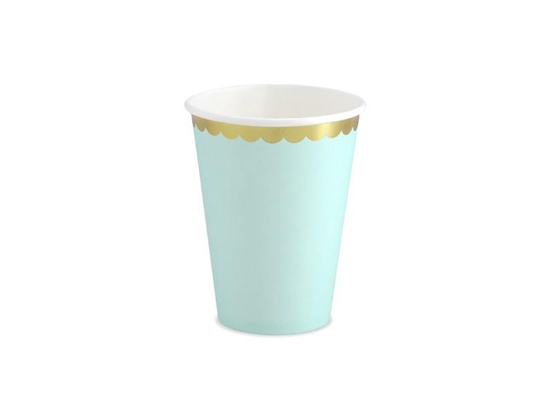 6 gobelets vert d\'eau bordures dorées