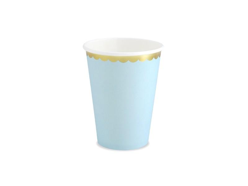 6 gobelets bleus bordures dorées