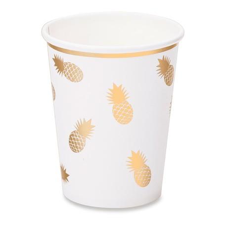 8 gobelets blancs ananas dorés