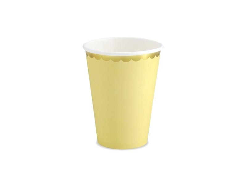 6 gobelets jaune aux bordures dorées