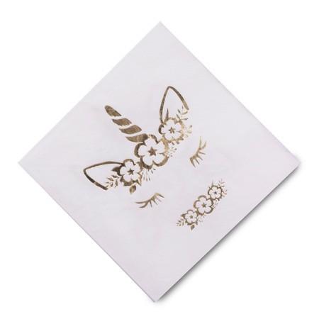 16 serviettes Licorne dorée