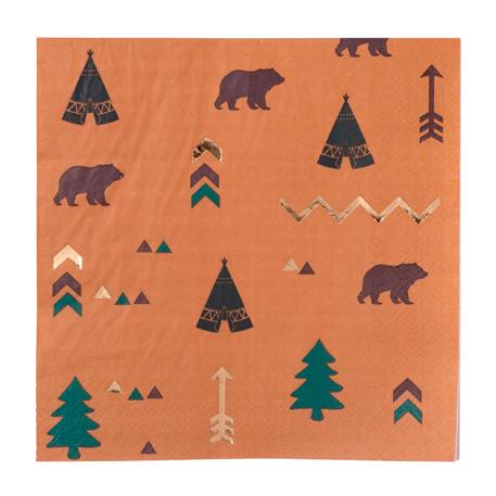 16 serviettes thème Indien