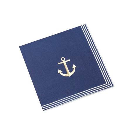16 serviettes Ancre Marine