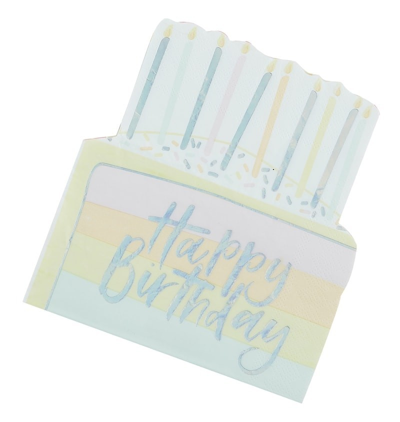 16 serviettes Happy Birthday pastel