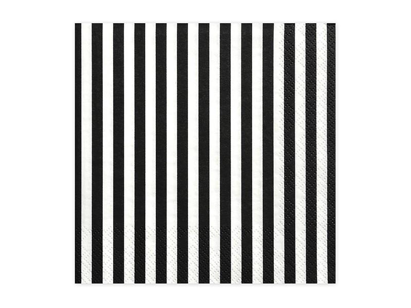20 serviettes blanches rayées noires