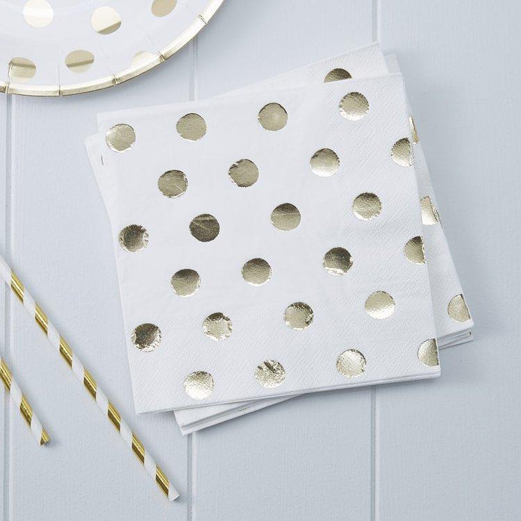 20 serviettes papier Blanches à pois dorés