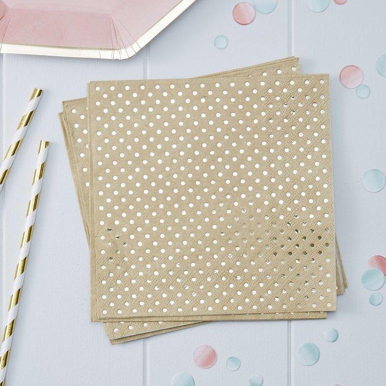 20 serviettes en papier kraft à pois gold