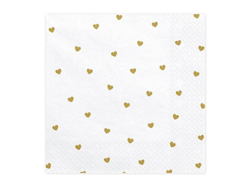 20 serviettes coeurs dorés