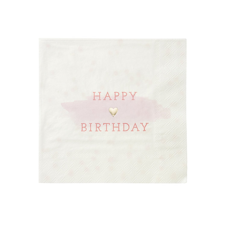 16 serviettes roses en papier Happy Birthday