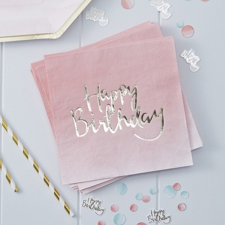 20 serviettes papier Happy Birthday Tie-Dye Rose