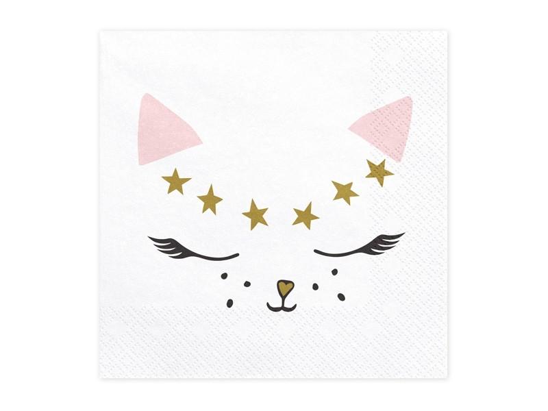 20 serviettes en papier Chat