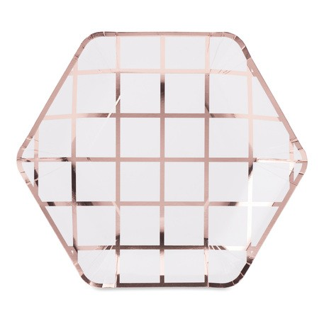 8 assiettes blanche à carreaux Rose Gold