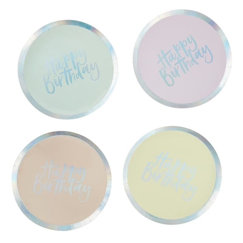 8 assiettes Happy Birthday pastel