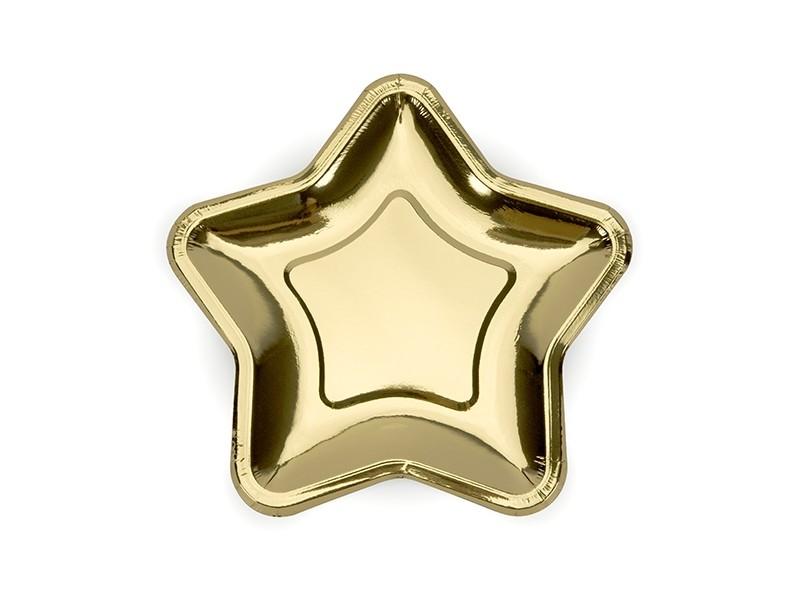 6 assiettes étoile dorées 18 cm