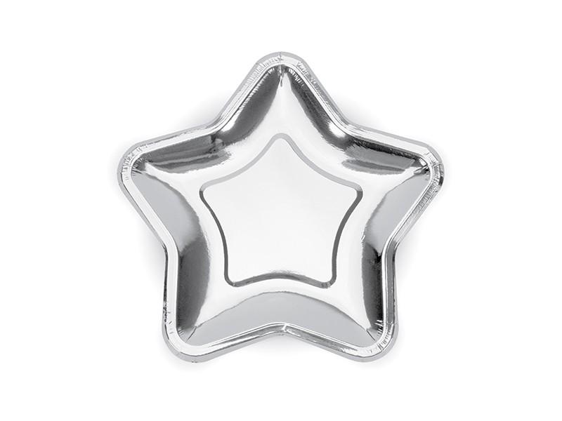6 assiettes étoile argentées 18 cm