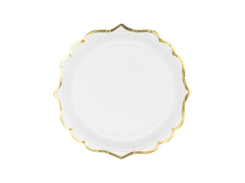 6 assiettes dessert blanches bordures dorées