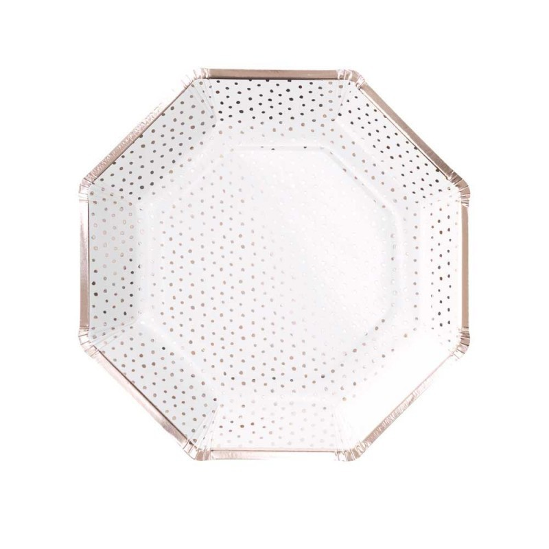 8 assiettes à pois rose gold