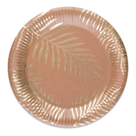 8 assiettes kraft palmiers dorés