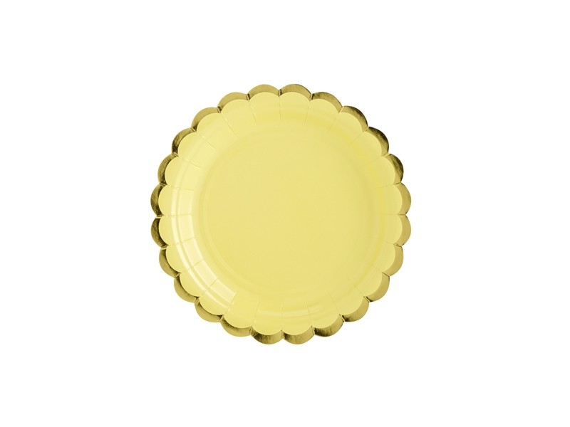 6 assiettes jaune aux bordures dorées