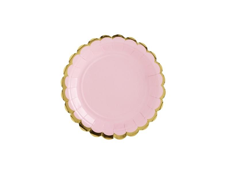 6 assiettes rose aux bordures dorées