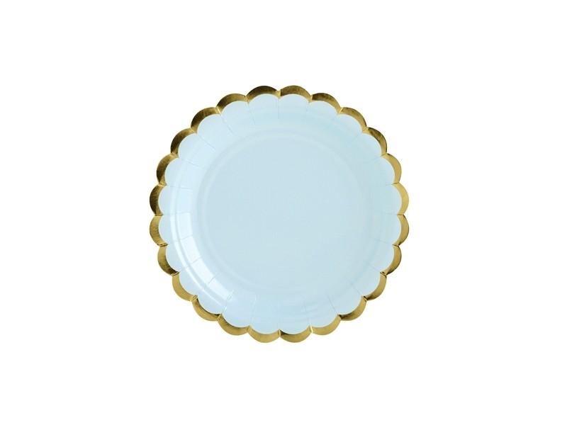 6 assiettes dessert bleu aux bordures dorées