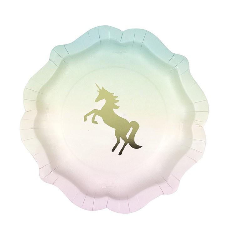 12 assiettes Licorne pastel