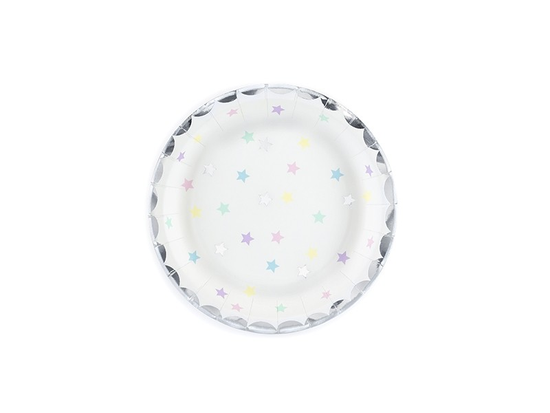 6 assiettes étoiles multicolores