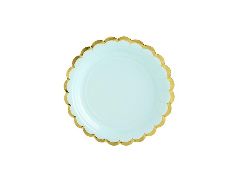 6 assiettes dessert vert d\'eau aux bordures dorées