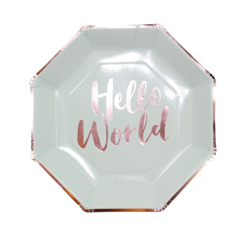 8 assiettes Hello World menthe & gold