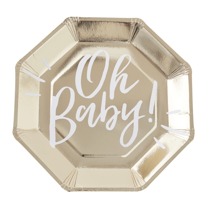 8 assiettes baby shower Oh Baby Doré