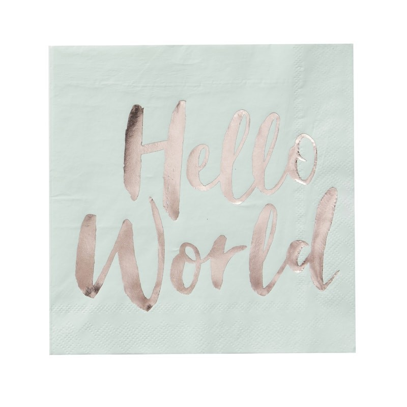 20 serviettes Hello World menthe & gold