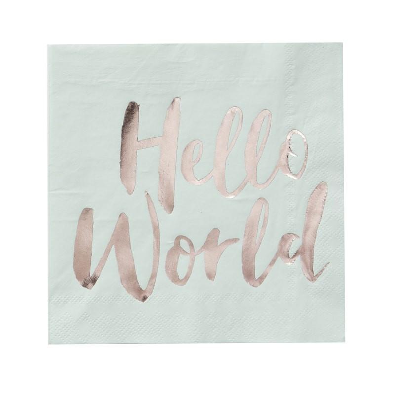 20 serviettes Hello World menthe & gold
