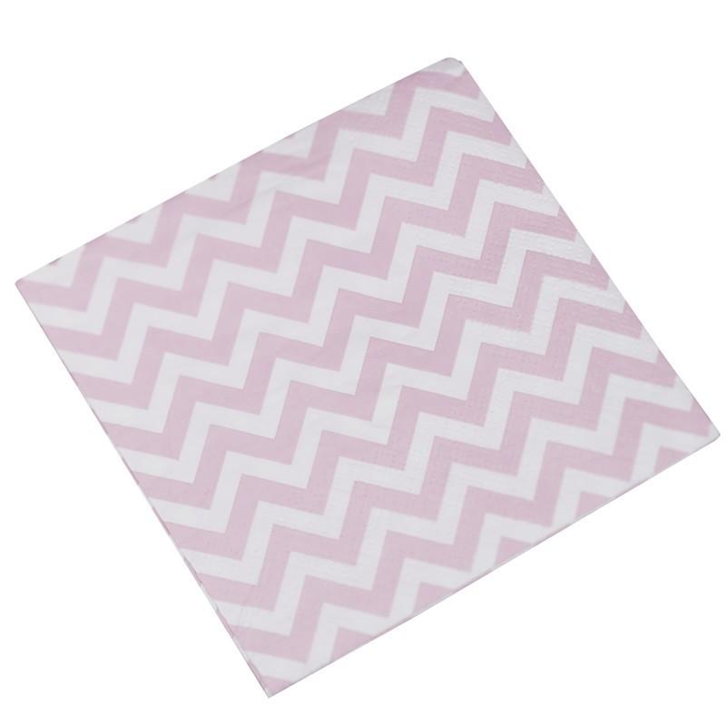 Lot de 20 serviettes chevron rose