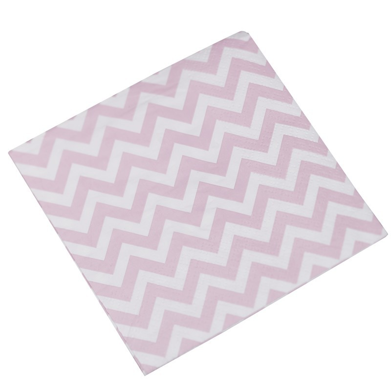 Lot de 20 serviettes chevron rose