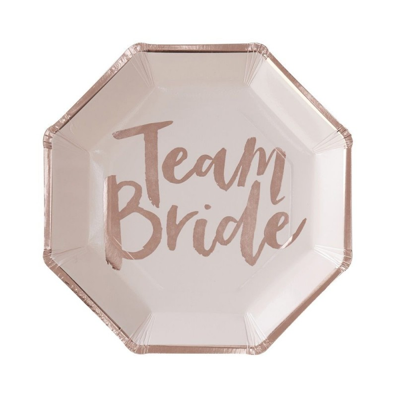 8 assiettes roses Team Bride