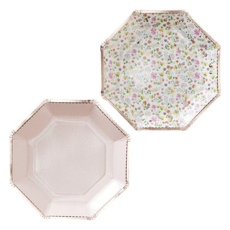 8 assiettes florales rose gold
