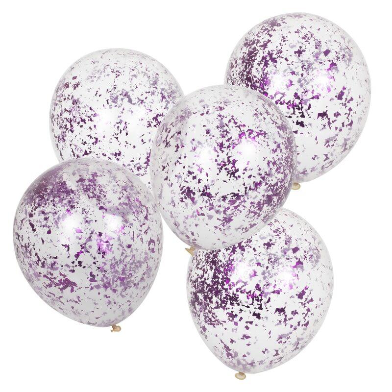5 ballons transparents micro confettis rose fuschia
