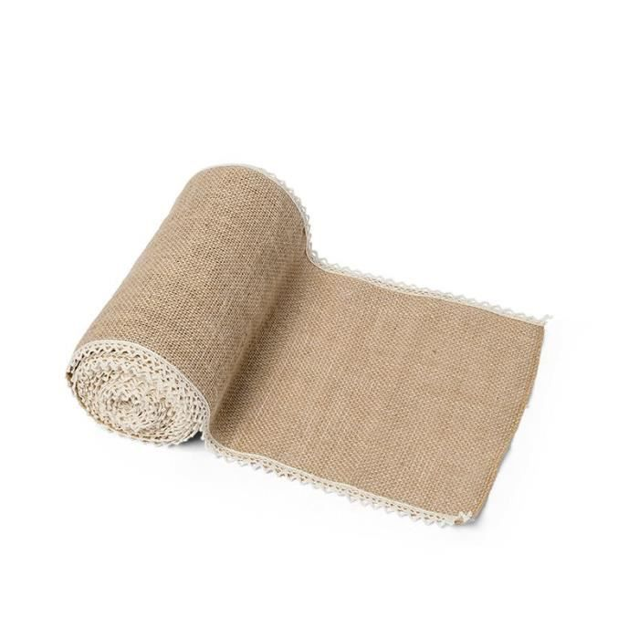 Chemin de table Jute bordure dentelle 20cmX5mètres