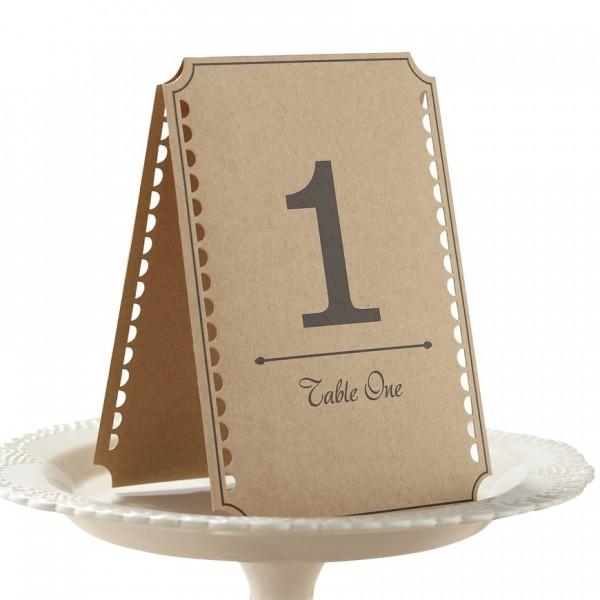 12 Numéros de table Kraft
