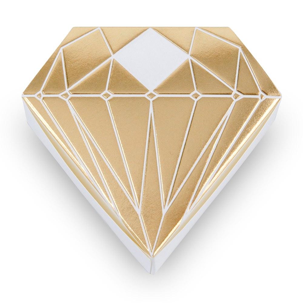 10 boites à dragées Diamant Dorés