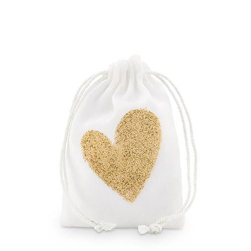 12 sachets coton Coeur en or pailleté