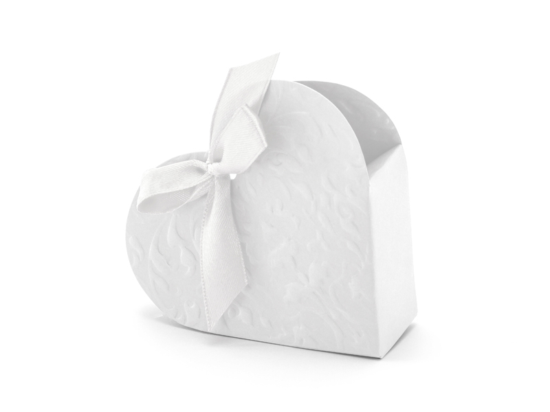 10 Boites dragée forme coeur blanc