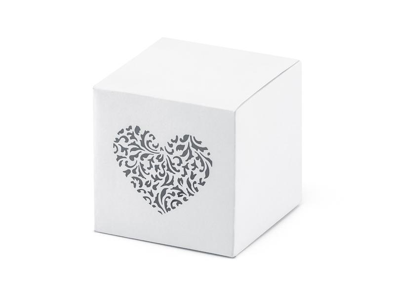10 boites dragées cube ornement coeur
