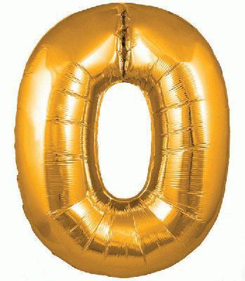 Ballon Chiffre 0 Taille 86 cm Doré