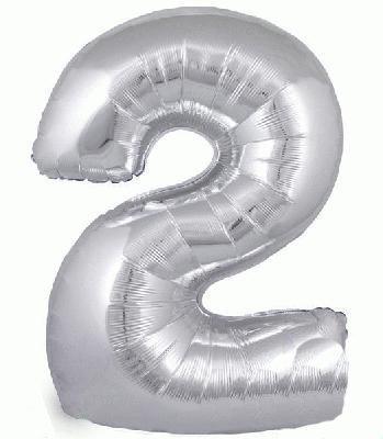 Ballon Chiffre 2 Taille 86 cm ARGENTE