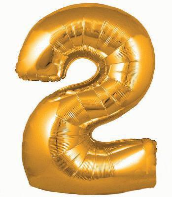 Ballon Chiffre 2 Taille 86 cm Doré