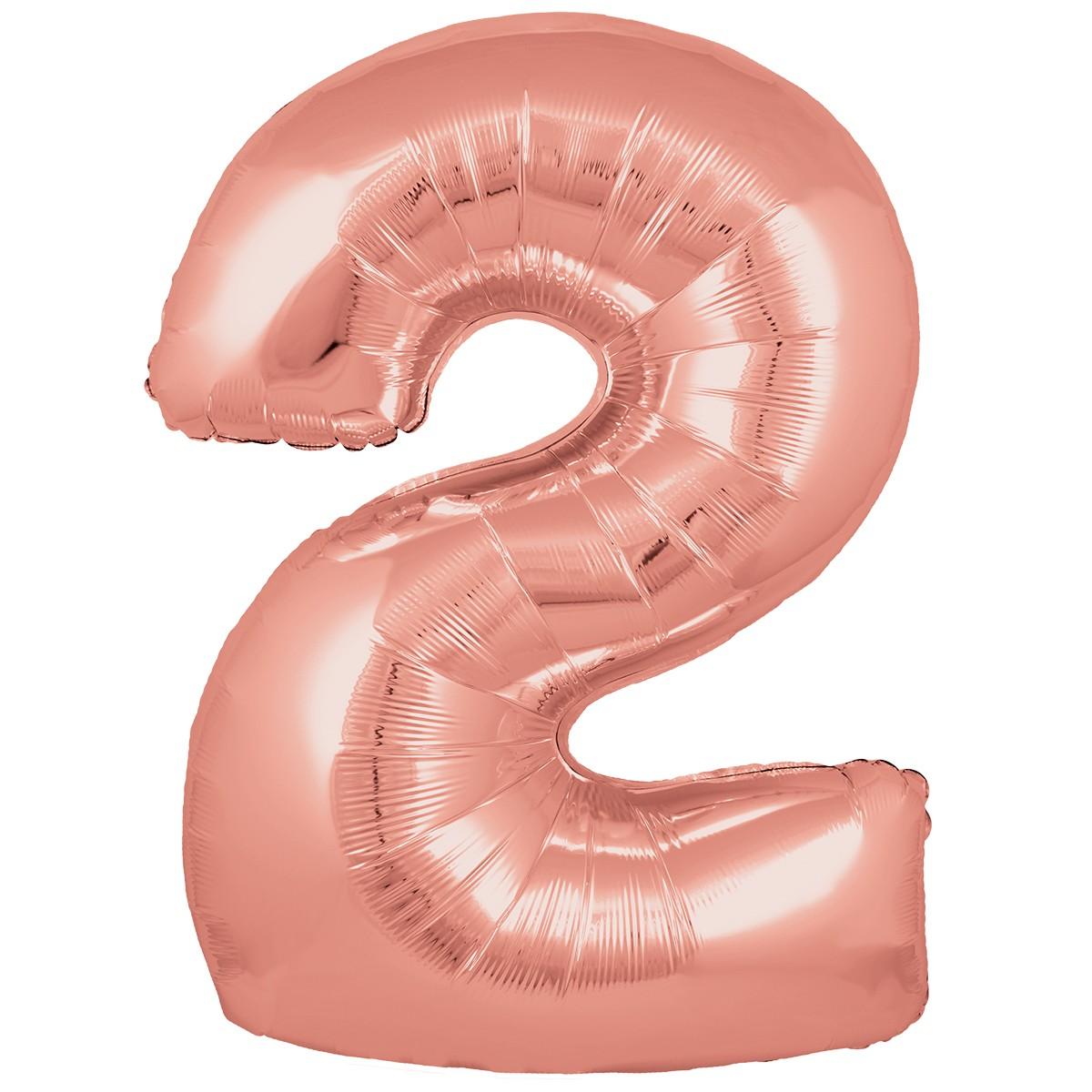 Ballon Chiffre 2 Taille 86 cm Rose Gold