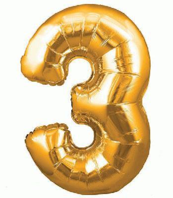 Ballon Chiffre 3 Taille 86 cm DORE